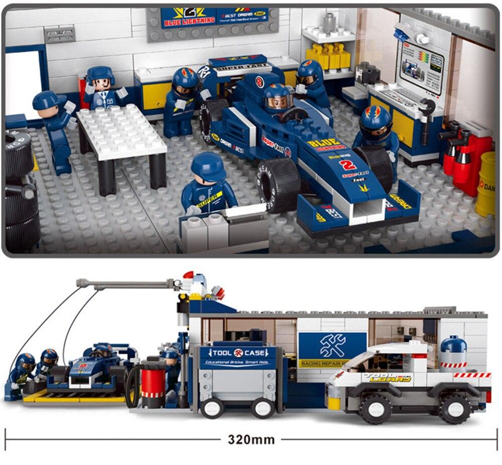 Oyuncaklar ve Hobi Ürünleri'ten Modeli Yapı Setleri'de 741 adet F1 araba tamir istasyonu Legoed bulmaca montaj modeli yapı blok seti oyuncaklar hediyeler'da  Grup 2