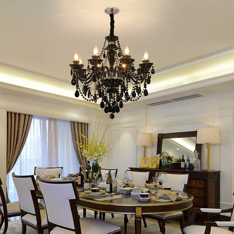 Super Promo 8534 Black Chandelier Living Room Crystal