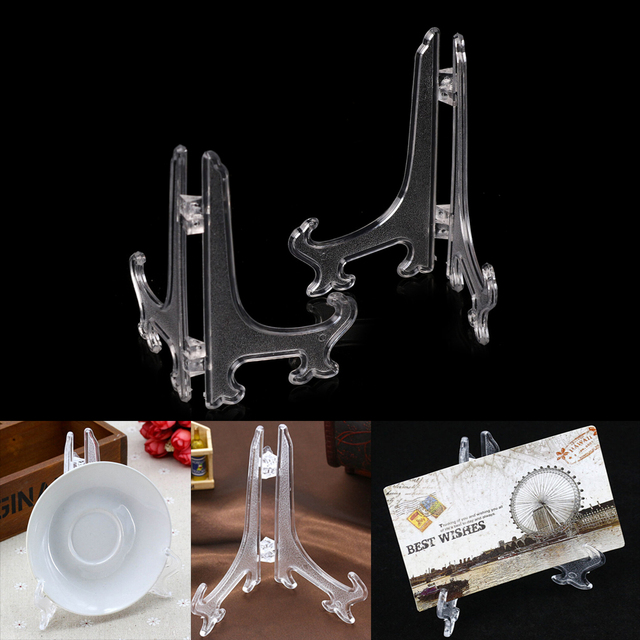 5\ 9\ 11\  Clear Plastic Easels Plate Holders Display Dish Rack Picture Frame & 5\
