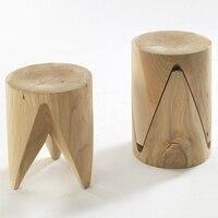 Натурального дерева стул сильный творческие статьи простой Стиль Гостиная табурет маленький угловой столик обеденный табурет