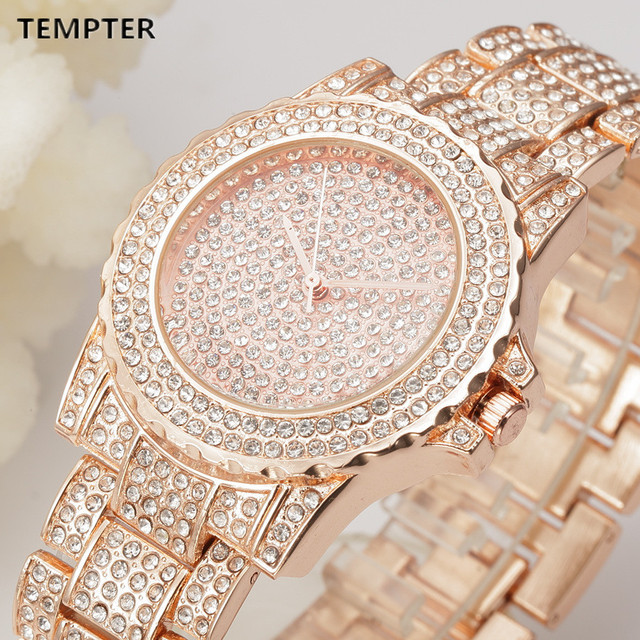 Hot Ladies Luxury Quartz Watch Women Gold Steel Bracelet Watch Rhinestone Ladies