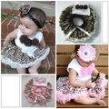1-4Y equipos del bebé chica Kids Flower Top + falda de leopardo Tutu Dress nuevo