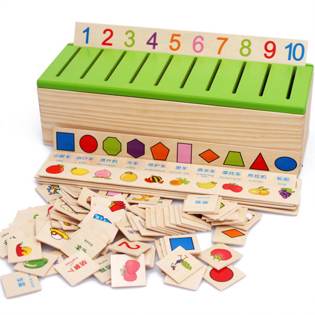 Candice guo! Educational wooden toy classification box puzzle child intelligence match game early learning gift 1set