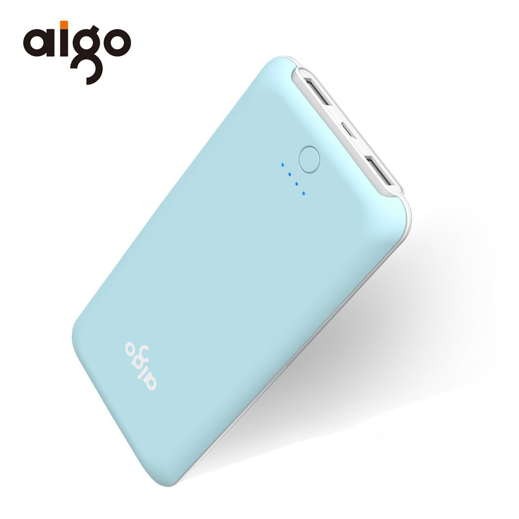 Aigo 10000mAh Power Bank 2 USB Port External Battery Charger Powerbank Ultra Slim Li-Polymer Battery for Iphone 6 7 8 for xiaomi