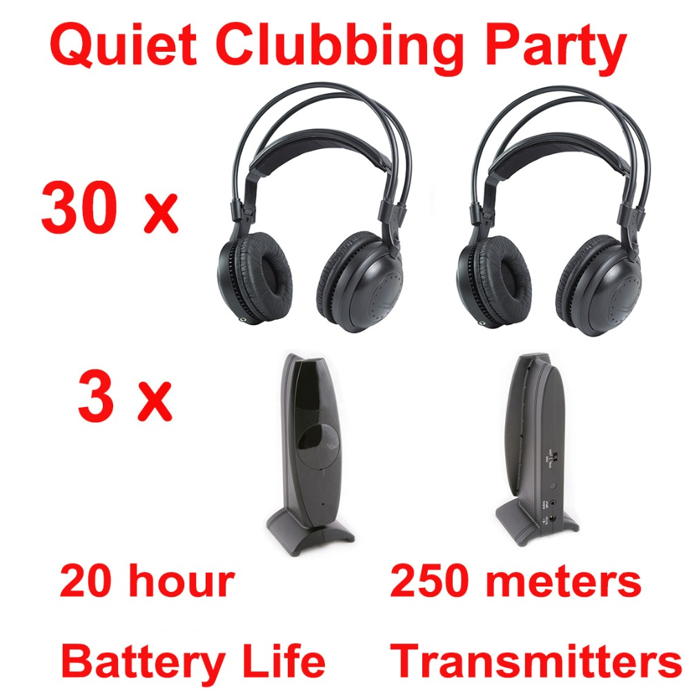 Professional Silent Disco compete system wireless headphones – Quiet Clubbing Party Bundle (30 Headphones + 3 Transmitters)