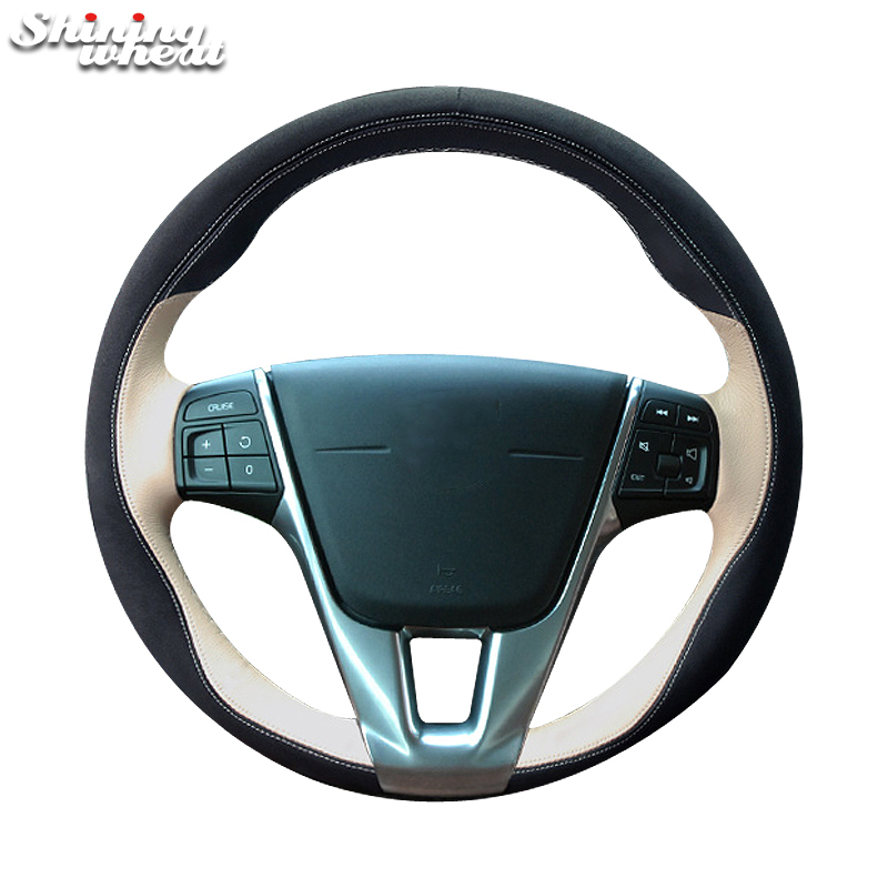 Shining wheat Black Beige Leather Car Steering Wheel Cover for Volvo S60 V40 V60 V70 2014 XC60 ecotronic v40 u4l black