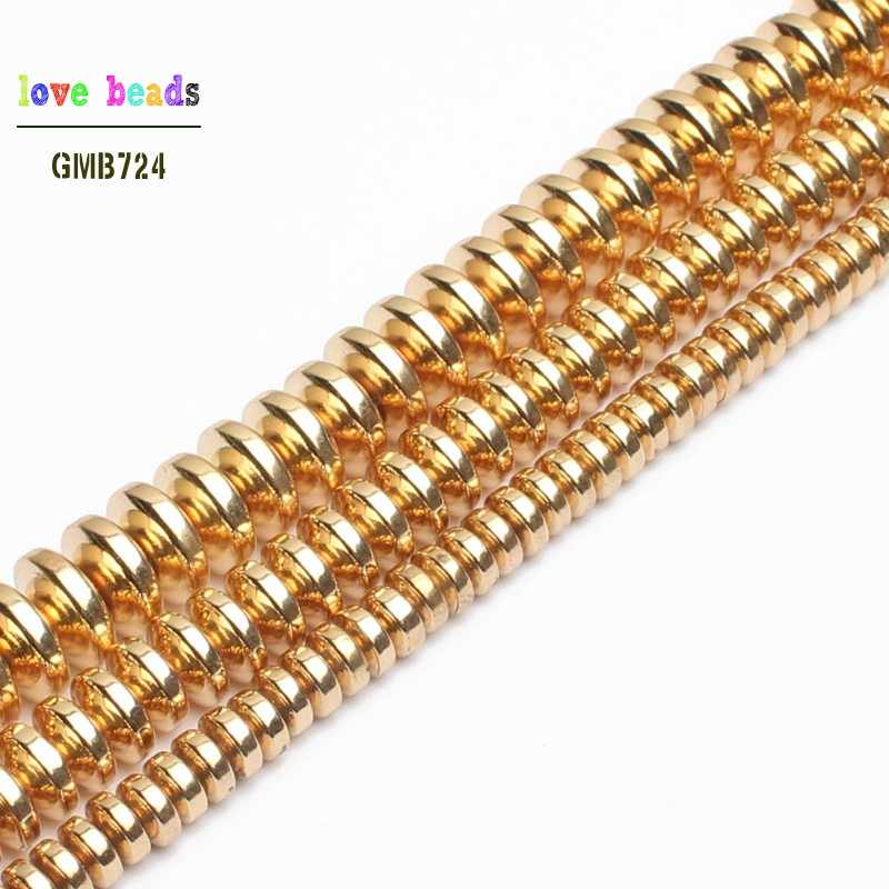 Natural Gold Hematite Rondelle Spacer Beads for Jewelry Making Diy Jewelry 4mm 6mm 8mm 180pcs/lot