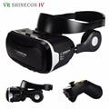 Caixa de fone de ouvido vr vr shinecon 4.0 realidade virtual óculos 3d + fone de ouvido/microfone/dobrável cinto para 3.5-5.5'm óvel telefone + remoto