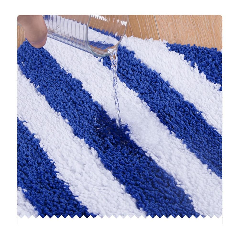 MDCT Soft Blue White Striped Fluffy Floor Door Mats Anti skid Living ...