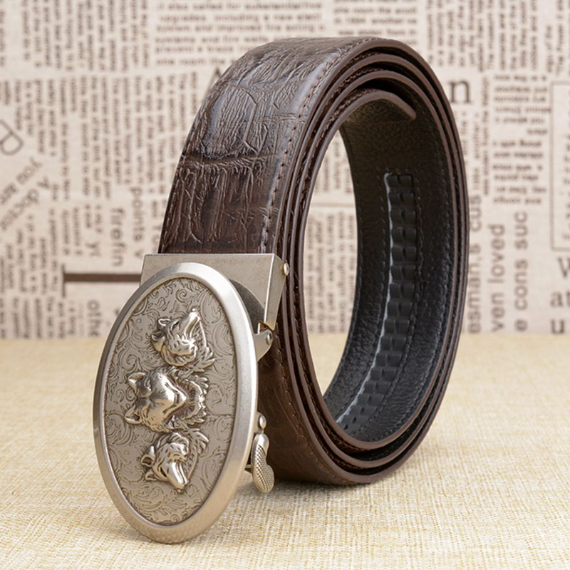 REDUCED New Mens Cowhide Genuine Leather Wolf Belt Black or Brown All Sizes