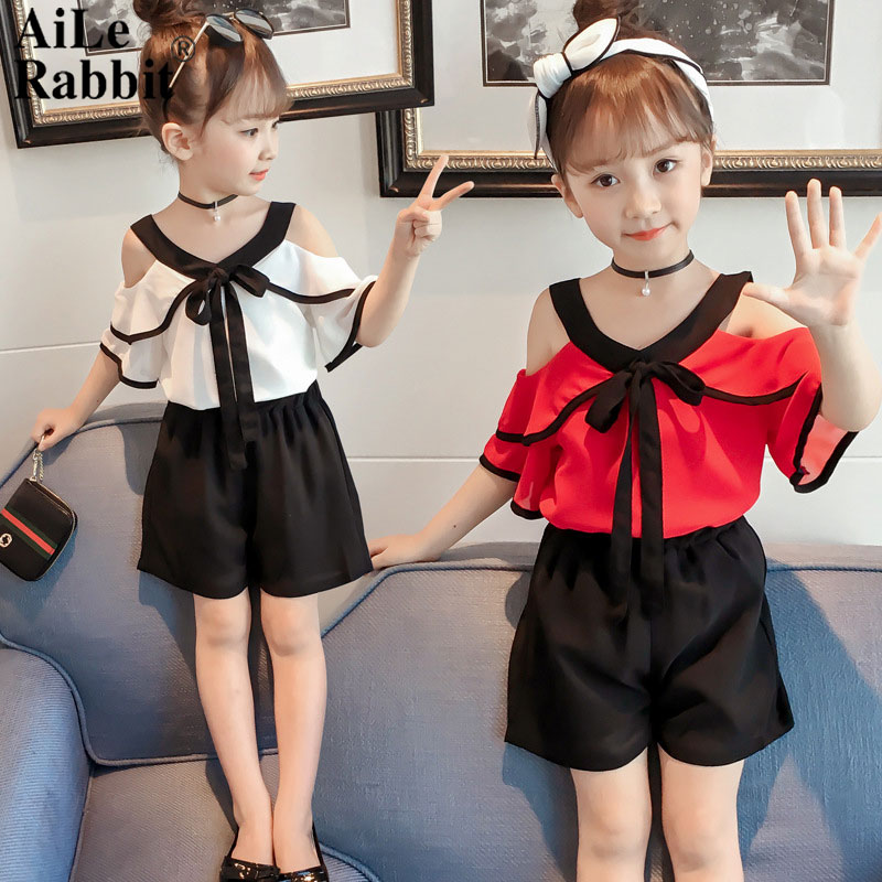 AiLe Rabbit Children s clothes girls suits summer vogue of new fund of 2018 han edition children summer two-piece XT373 girl 1b ...