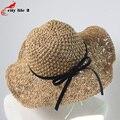 Hecho a mano de paja Sombreros de Verano para mujeres Bowknot Straw sombrero para el sol sombrero chapeau paille casquillo de la playa ocasional Sombreros Mujer Verano