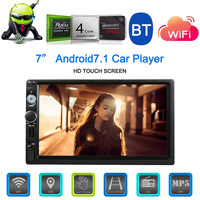 Universal 7inch Android 7.1 Din BT Car Stereo Radio Player GPS Navigator Multimedia Entertainment WiFi AM/FM/RDS Rearview Camera