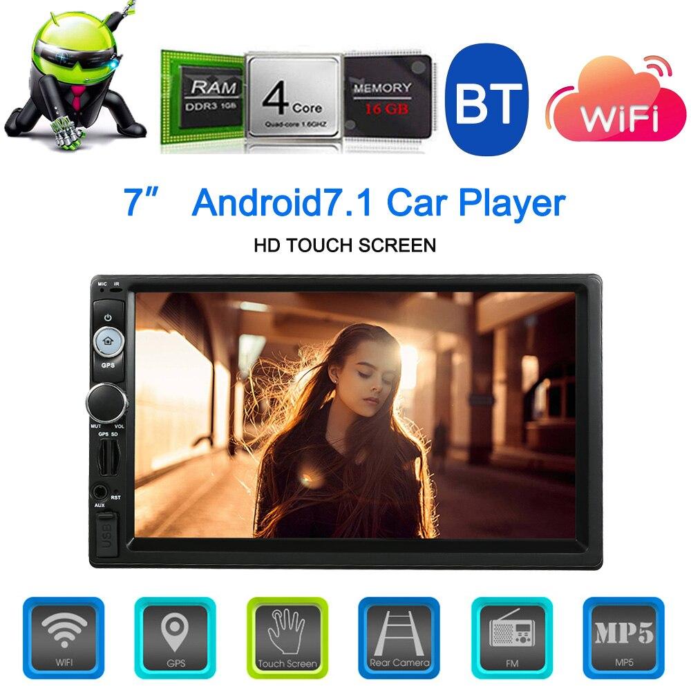 Universel 7 pouces Android 7.1 Din BT Voiture Stéréo Radio Lecteur GPS Navigator Multimédia Divertissement WiFi AM/FM/ RDS Caméra de Recul