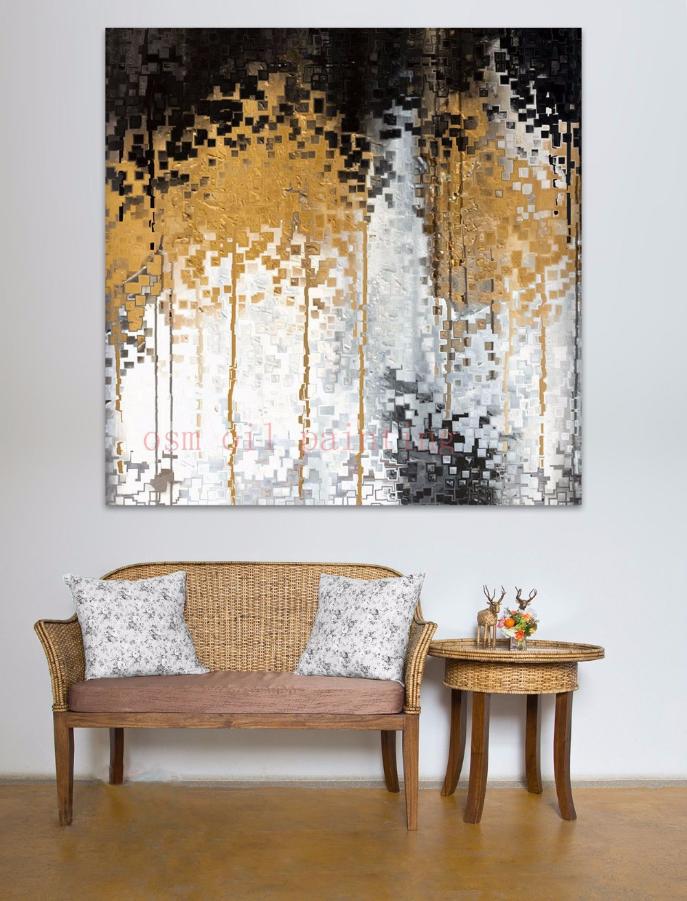 Hand Painted Modern Abstract Gold White Birch Tree Oil