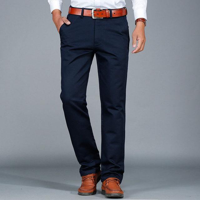 29 ~ 42 2017 Nova Outono Dos Homens Plus Size Calças Grossas Calças de Algodão Casual Calças Homem Formais Reta de Carga Do Exército Pantalones verde
