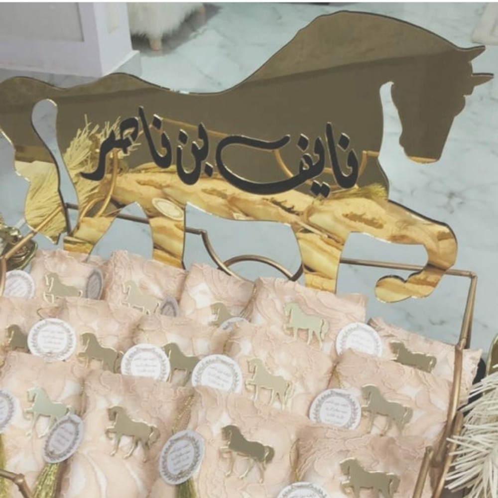 100 pieces Mirror 6cm Small Horse Wedding Sticker Acrylic Custom Personalized Babyshow Party Decor Favors Guest Gifts-in Party Favors from Home & Garden    2