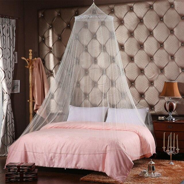 Elegante Moskito Net Für Doppelbett Baldachin Insekten Ablehnen Net Rund Baldachin  Bett Vorhänge Mückenschutz Zelt Weiß