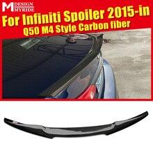 купить M4 Style Rear Spoiler High-quality Carbon Fiber Rear Trunk Spoiler Wing car styling Accessories For infiniti Q50 Q50S 2015-2018 дешево
