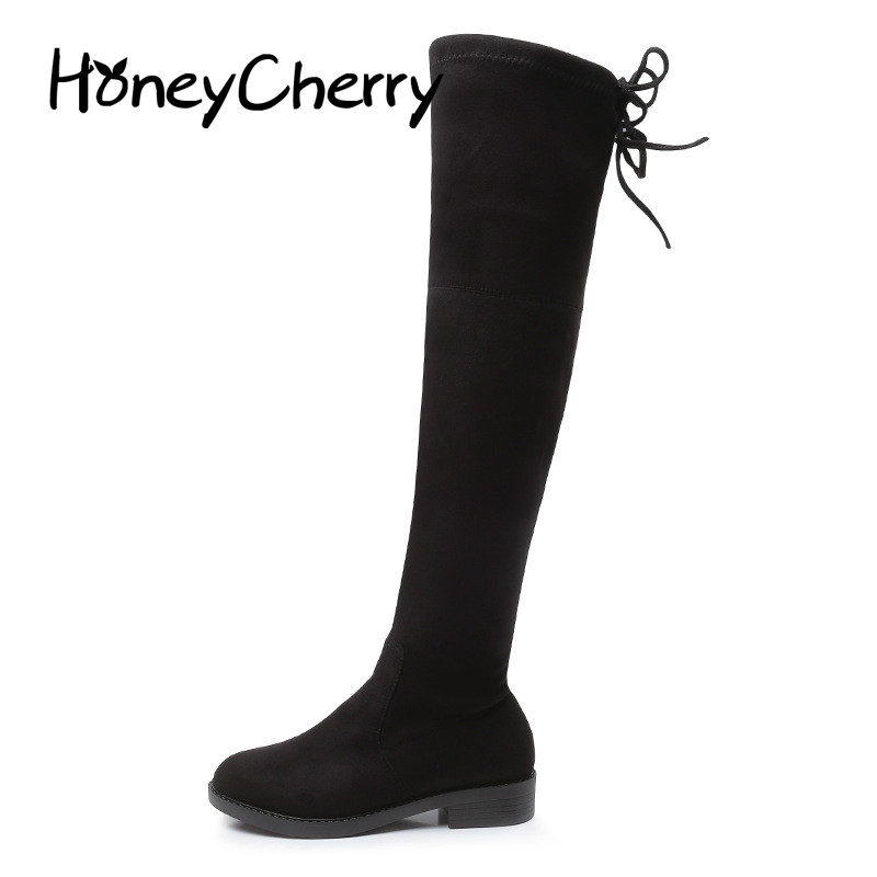 Over The Knee Boots 2018 Autumn And Winter New Elastic Thin Slim Wild Students Flat Long Tube Women's Boots Europe And America 2015 autumn shiny piece fight color stretch fabric square head women s boots flat boots in europe and america tide personality