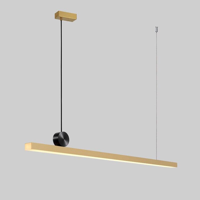 Geometric line pendant lamps restaurant Nordic post modern designer long table dining room light luxury copper