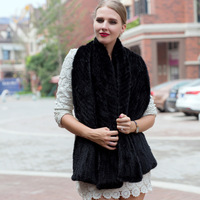 2018 New Women Mink Fur Scarf Hand Knitted Fashion Mink Fur Muffler Luxury Real Mink Fur Neck Warmer Women Fur Stole