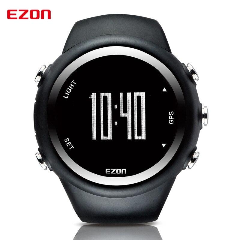 ФОТО EZON GPS Timing outdoor running watch fashion atmospheric monitoring calorie sports watch Men's Black Digital WatchT031