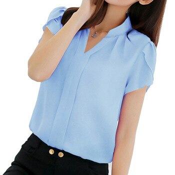 1c7eaca7a5 Blusa de gasa para Mujer Tops de manga corta elegante para mujer blusa  Formal de oficina talla grande 3XL Camisa de gasa