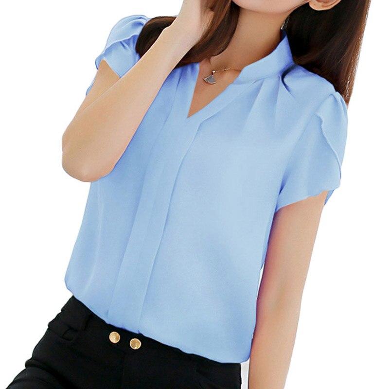 Women Shirt Chiffon Blouse Femininas Tops Short Sleeve Elegant Ladies Formal Office Blouse Plus Size 3XL Chiffon Shirt Clothing