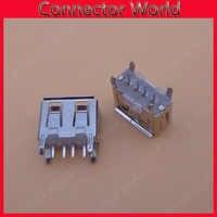 100ชิ้นแล็ปท็อปเมนบอร์ดไมโคร2.0 USB 4pin 4ขาDCสีขาวประเภทแบนมุม180องศาหญิงPCBเชื่อมต่อซ็อกเก็ตแจ็คเสียบ