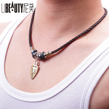 UBEAUTY Leather Cord Weaving Necklace Fashion Hipster Vintage Men Necklace Unisex Alloy Charms Necklaces For Women Men Jewelry(China)