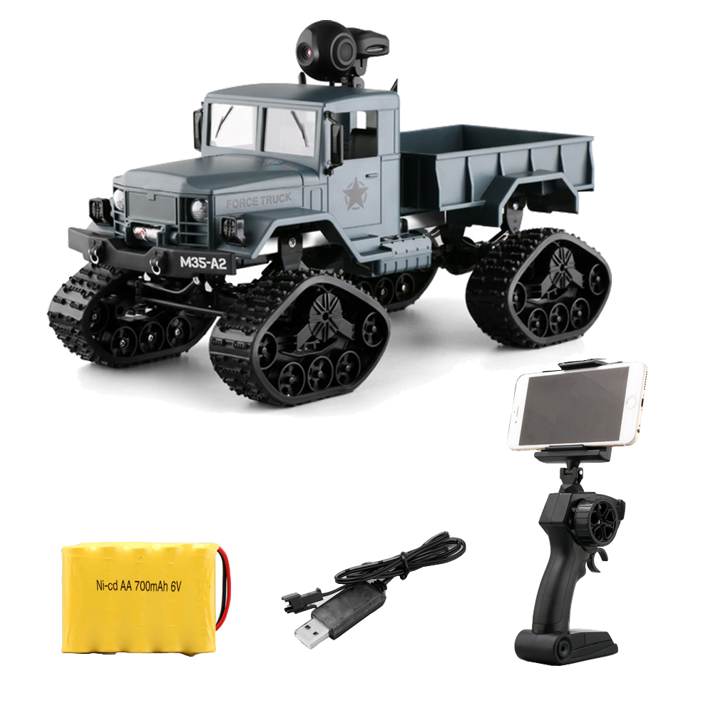 4WD 1/16 Remote Control Military Truck with 0.3MP WIFI FPV Camera 4 Wheel Drive Off-road RC Climbing Car RC Vehicles Toy remote control 1 32 detachable rc trailer truck toy with light and sounds car