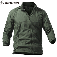 S.ARCHON Lightweight Tactical Skin Jacket Men Summer Breathable Portable Waterproof Jacket Military Army Thin Jackets S 5XL
