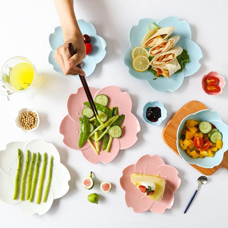 Japanese Sakura Bone China Dinner Plate Cherry Blossom Glaze Ceramic Plate Steak Fruit Nuts Tray Salad Bowl Snack Dishes Plate