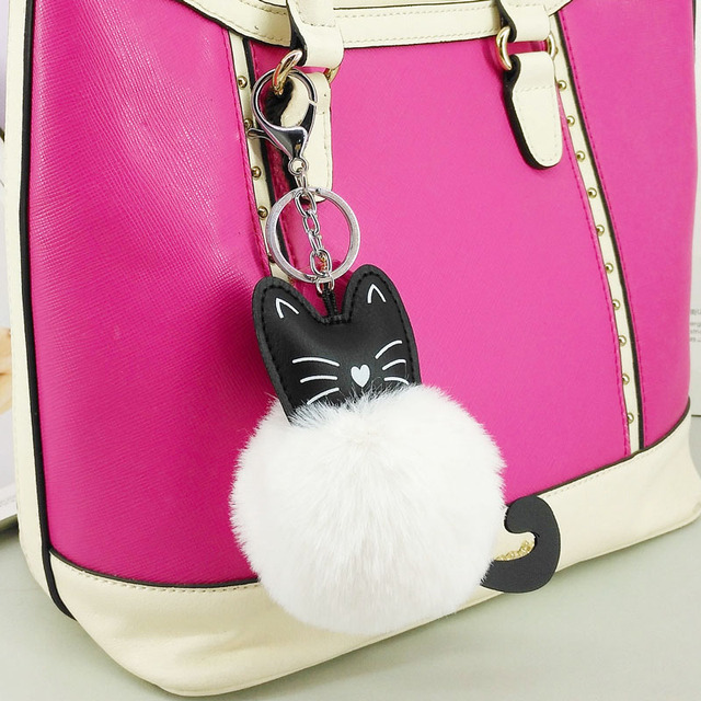 White Black Puff Ball KeyChains Cute Cat KeyChains Kid Womens Personalised  Rings Android KeyChains Car Bag 82549f4735