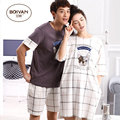 2016 Summer Lovers Sleepwear Male's Or Female's Thin 100% Cotton Nightgown Male Short-sleeve Couples Lounge Homewear