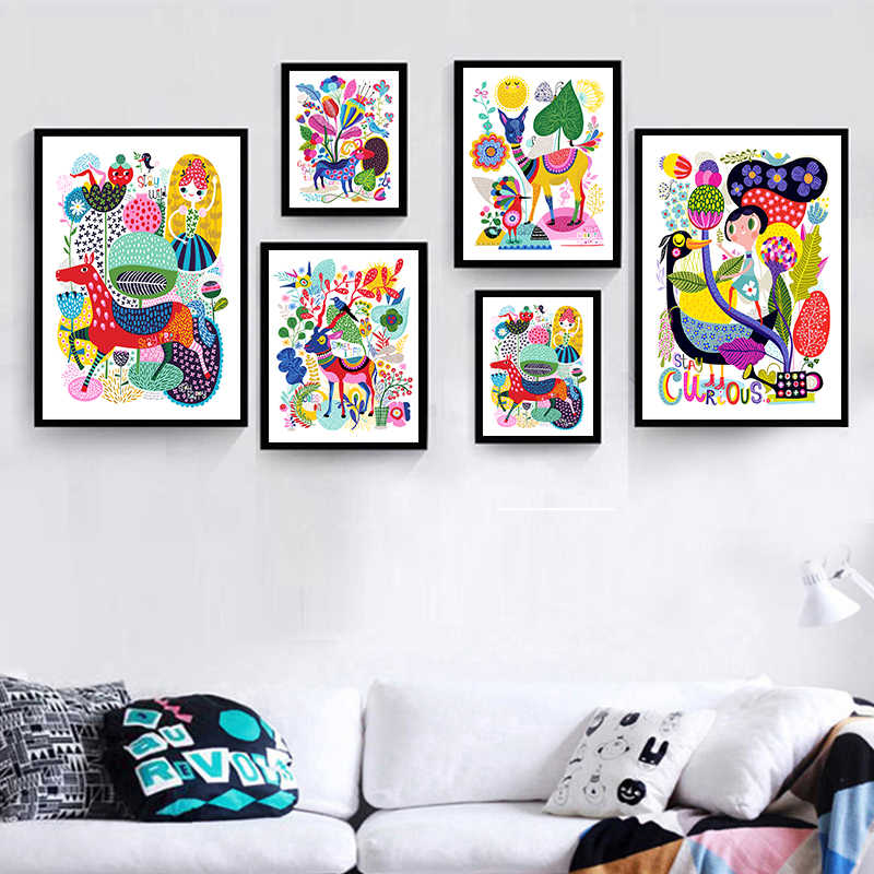 Modern Cartoon Animals Colorful World Canvas Painting Art Wall Print Picture Poster Children Bedroom Decor Art Painting No Frame