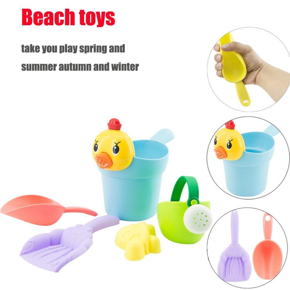 Snow Shovel For Kids 5Pcs Yellow Duck Sand Sandbeach Kids Beach Toys Castle Bucket Spade Shovel Rake Water Tools Sand Toys