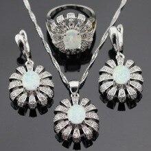 Эшли Австралия Белый Опал Серебро Цвет Ювелирные Наборы Для Женщин Рождество Ожерелье Кулон Серьги Кольца Подарочная Коробка