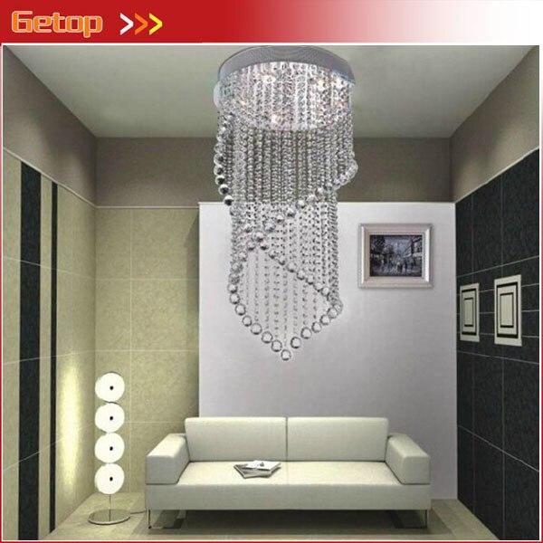 Лучшая цена современные хрустальные потолочный светильник кристалл лампы кафе висит Провода кристалл лампы двойной спирали Crystal Light