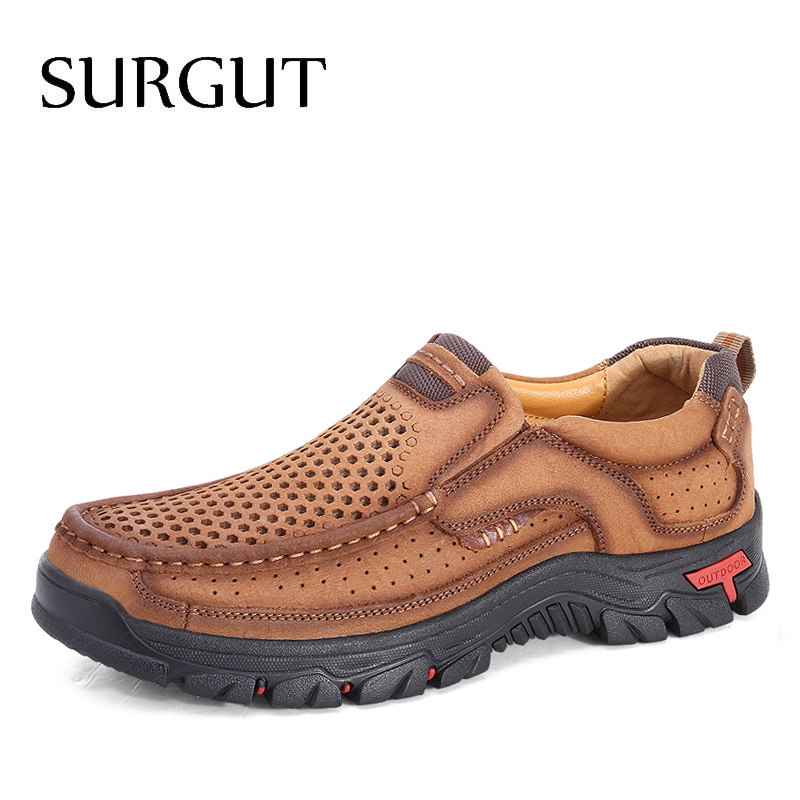 SURGUT Men Genuine Leather Shoes High Quality Slip On Brand Fashion Design Solid Comfortable Men's Casual Shoes Big Sizes 38-48