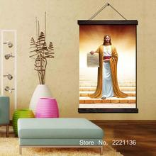 Jesus Bible Framed Scroll Painting HD Wall Art Hanging Canvas Printed Pictures for Living Room Decoration