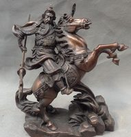 8 Chinese Pure BRASS Dragon Head Warrior Guan Gong Yu God Ride Horse Statue statues garden decoration