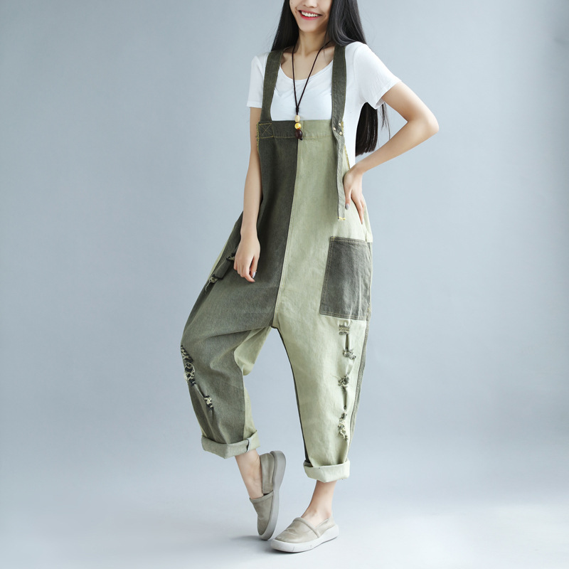 Jumpsuits Rompers The new spring and summer to do the old jeans fight color hole female