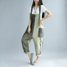 Jumpsuits Rompers The new spring and summer to do the old jeans fight color hole female large size bib pants Dagu streets(China)