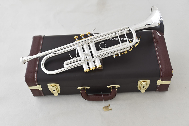 Trumpet NEW Bach Silver-plated body gold key LT190S-85 B flat professional trumpet bell Top musical instruments Brass trumpet new bach silver plated body gold key lt190s 85 b flat professional trumpet bell top musical instruments brass