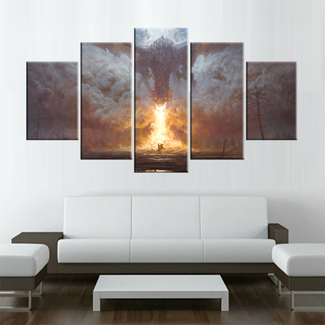 5 Panels Game of Thrones Spit fire monster Canvas Painting Prints ...