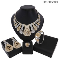 YULAILI Luxury New Arrival Jewelry Sets Wedding Cubic Zirconia Statement Necklace Earrings Sets for Women Bangle Ring