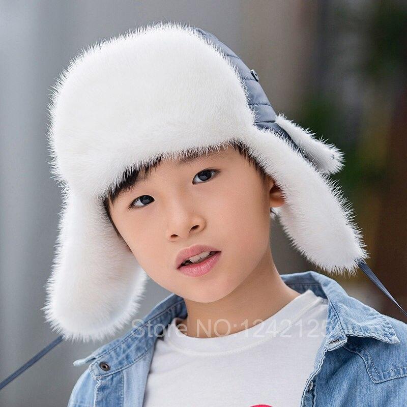 Nouvelle Hiver unisexe hommes femmes enfants enfants fille de fourrure de  vison chapeau chaud fourrure de vison oreilles lei chapeau de feng fourrure  de ... 0804ad92fab