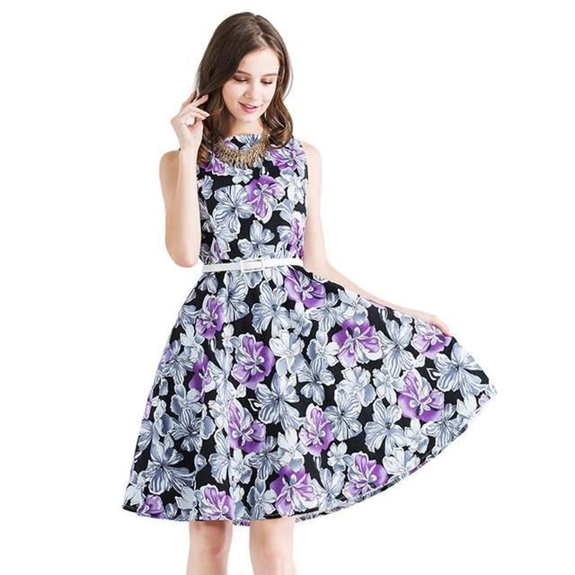 ff7f5b0e7fd7 Vintage Purple Flower Printed Sleeveless Round Neck Women Dress Female  Girls Knee Length A-Line Summer Dress Cotton Swing Dress